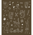 Set of hand drawn cats White silhouettes on black vector image vector image
