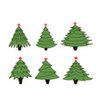 set of new year trees vector image