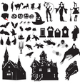 set of silhouettes symbolizing Halloween vector image vector image