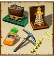 Set of tools miner and gift figurines vector image vector image
