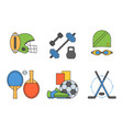 set sport icons in flat design line pictograph vector image vector image