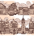 Sketch city seamless border black and white vector image