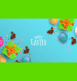 spring easter card of chocolate bunny and eggs vector image vector image