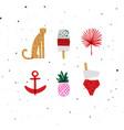 summer elements set cheetah ice cream pineapple vector image