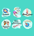 summer vacation people holidays summertime set vector image