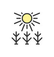 sun shines on field flat color line icon vector image vector image