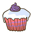 sweet cupcake icon hand drawn style vector image