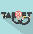 Target With Dart Arrow In Hand Typography Design vector image
