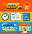 three wide school designs with bus book buinding vector image vector image
