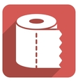 Toilet Paper Roll Flat Rounded Square Icon with vector image