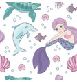 underwater world mermaid seamless pattern vector image