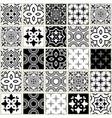veector navy blue tiles pattern azulejos vector image vector image