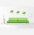 White interior with realistic sofa vector image vector image