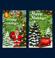 winter holidays santa sketch greeting card vector image vector image