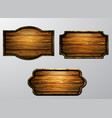 wooden signs icon set vector image vector image