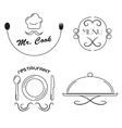 Restaurant icons set Line icons vector image