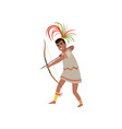 aztec warrior man character in traditional clothes vector image vector image