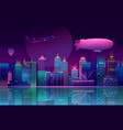 background with night city in neon lights vector image vector image