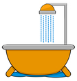 Bathtub with shower vector image