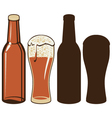 Beer bottle and glas vector image vector image
