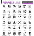 black classic creative process web icons set vector image vector image