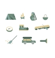 Camping equipment symbols vector image vector image