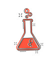 cartoon chemical test tube icon in comic style vector image vector image