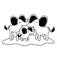 cartoon couple elephants and calf over grass in vector image