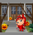 cartoon of beautiful red haired little devil vector image