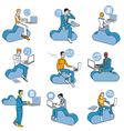 Cloud Computing Blue Men Set vector image vector image