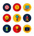 collection icons business idea money clock trophy vector image