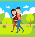 couple woman man reading book going straight park vector image