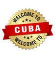 cuba 3d gold badge with red ribbon vector image vector image