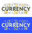 currency flat line concept for web banner and vector image vector image