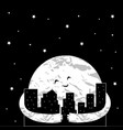 cute cartoon moon in the night city vector image vector image