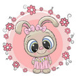 cute cartoon rabbit with flowers vector image