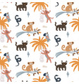 cute jungle animals night scene seamless pattern vector image vector image