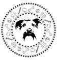 dog head medallion vector image