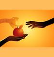 eve offering apple to adam vector image vector image