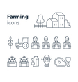 Farming products icons set farm house fruit vector image