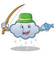 fishing rain cloud character cartoon vector image