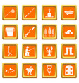 fishing tools icons set orange vector image vector image