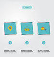 flat icons pin sold truck and other vector image vector image