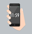 flat mobile phone with arm and isolated time scree vector image