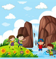 four kids by the waterfall vector image vector image