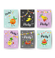 fruit holiday party banners set with different vector image vector image