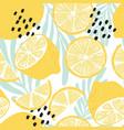 fruit seamless pattern lemons on white background vector image vector image