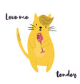 funny yellow cat singing in microphone vector image