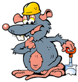 Hand-drawn of an Rat holding a Spade vector image vector image