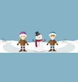 happy children with snowman banner vector image vector image